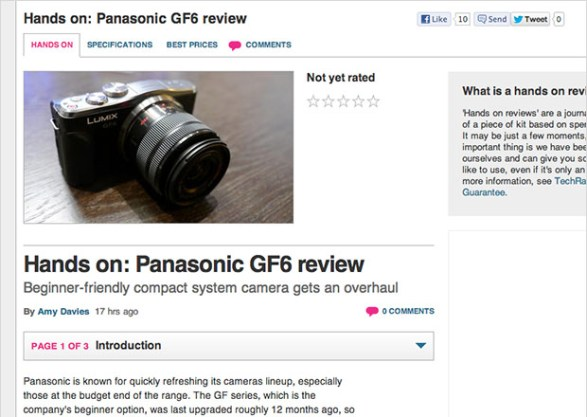 Panasonic Lumix GF6 Photos and Specs Leaked by Review Site techradar