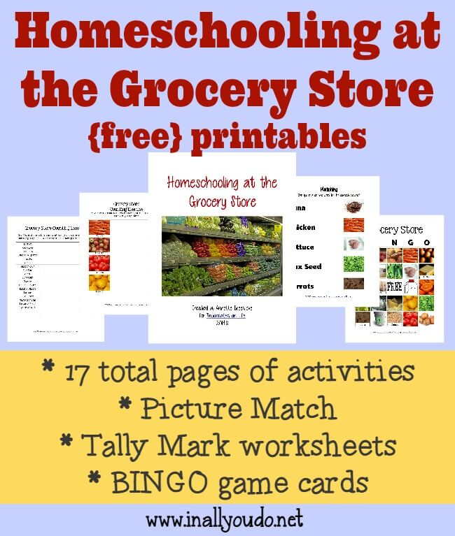 Homeschooling at the Grocery StoreFREE Printable Pack