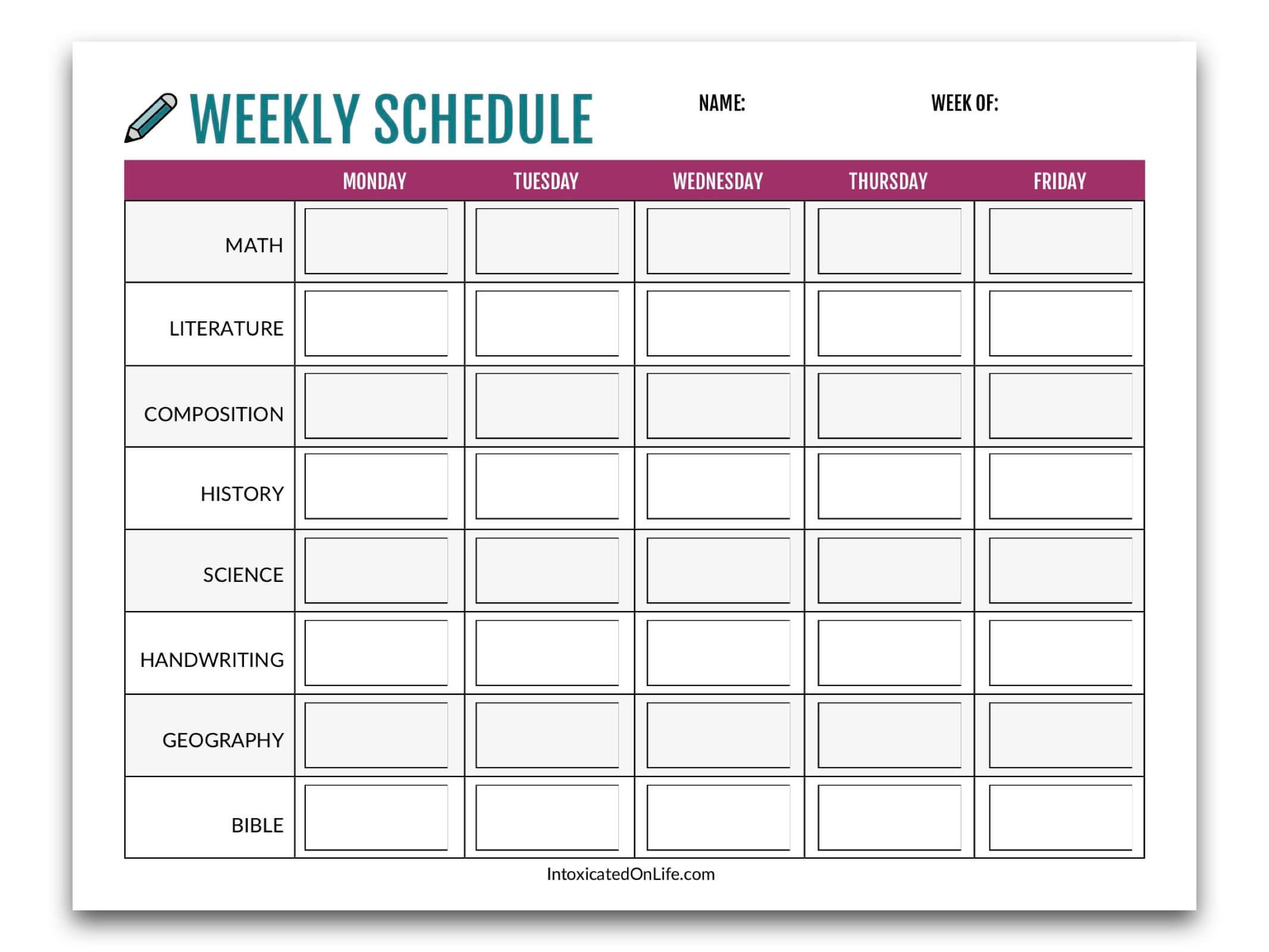 weekly shcedule