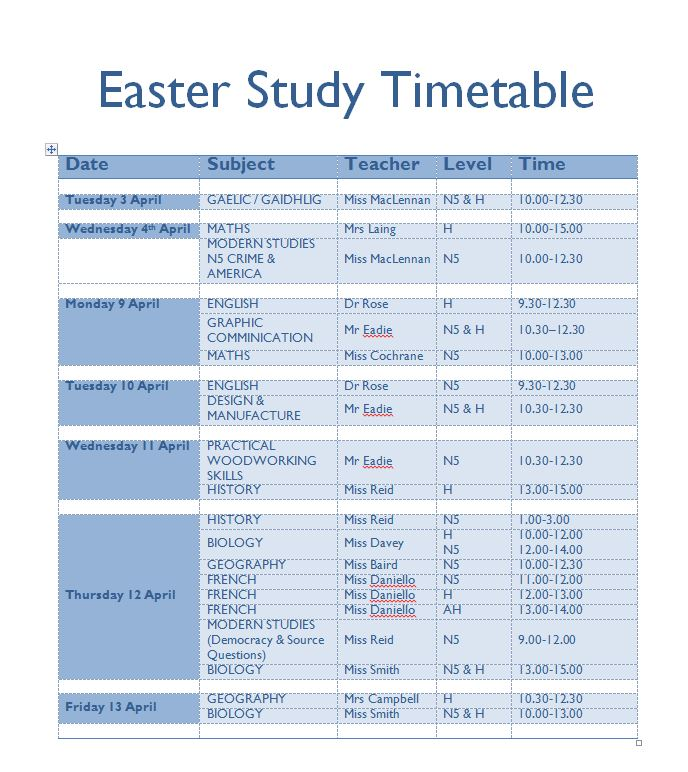 Easter Study Timetable \u2013 Inverness Royal Academy