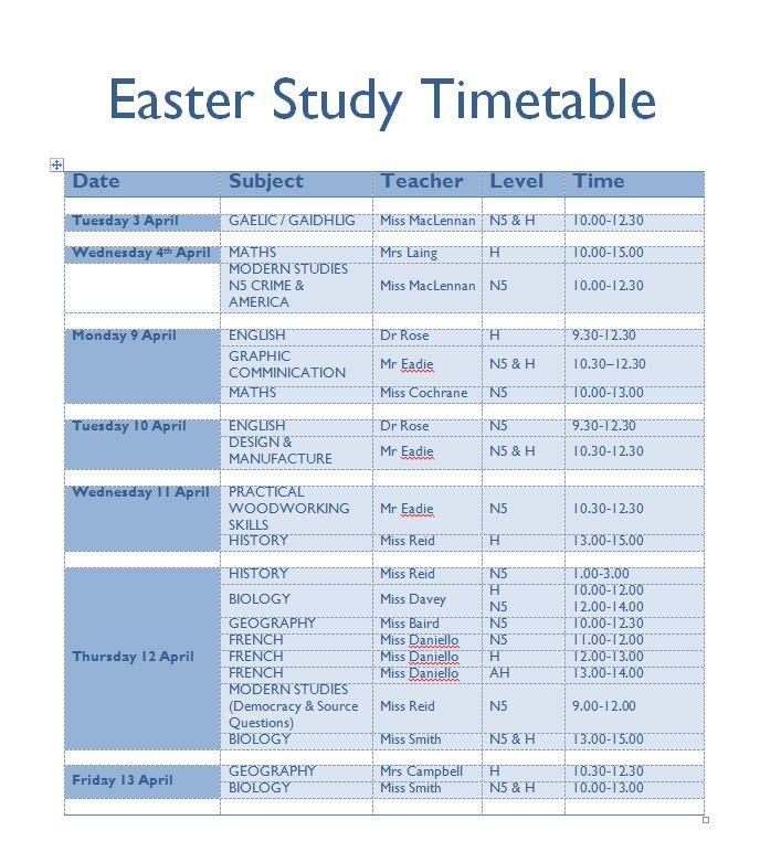 Easter Study Timetable \u2013 Inverness Royal Academy - study timetable
