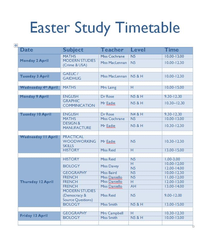 Updated Easter Study Timetable \u2013 Inverness Royal Academy