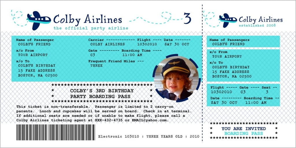 airline ticket template word – Airline Ticket Birthday Invitations