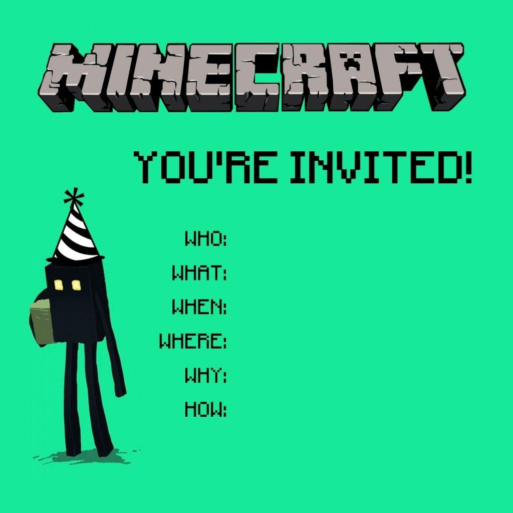 Free Printable Minecraft Birthday Invitations Templates Cv Writing