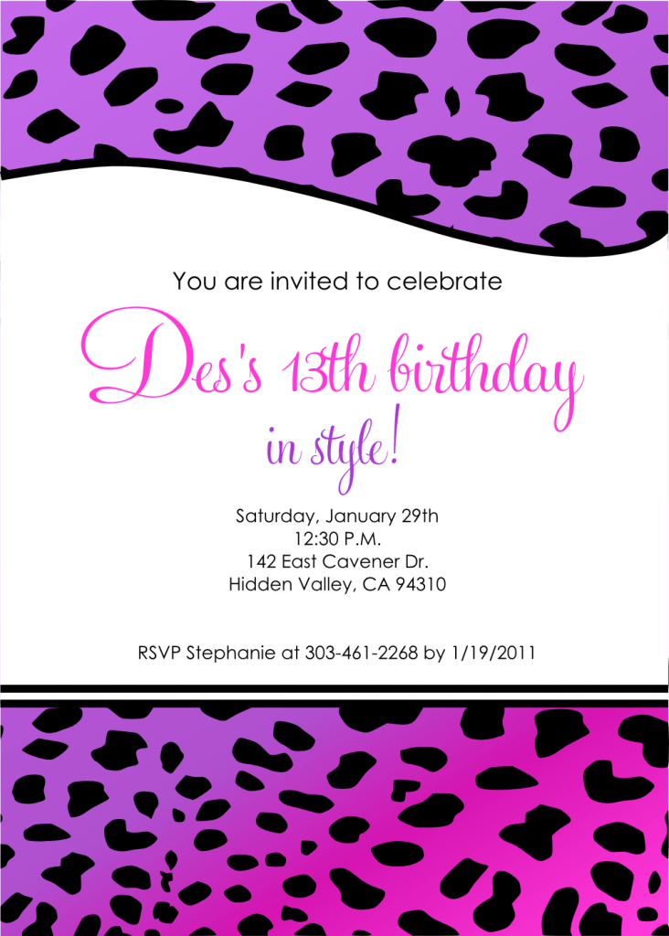 Free Printable 13th Birthday Invitations For Girls