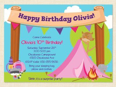 Free Printable Camping Birthday Invitation Template - free printable camping invitations