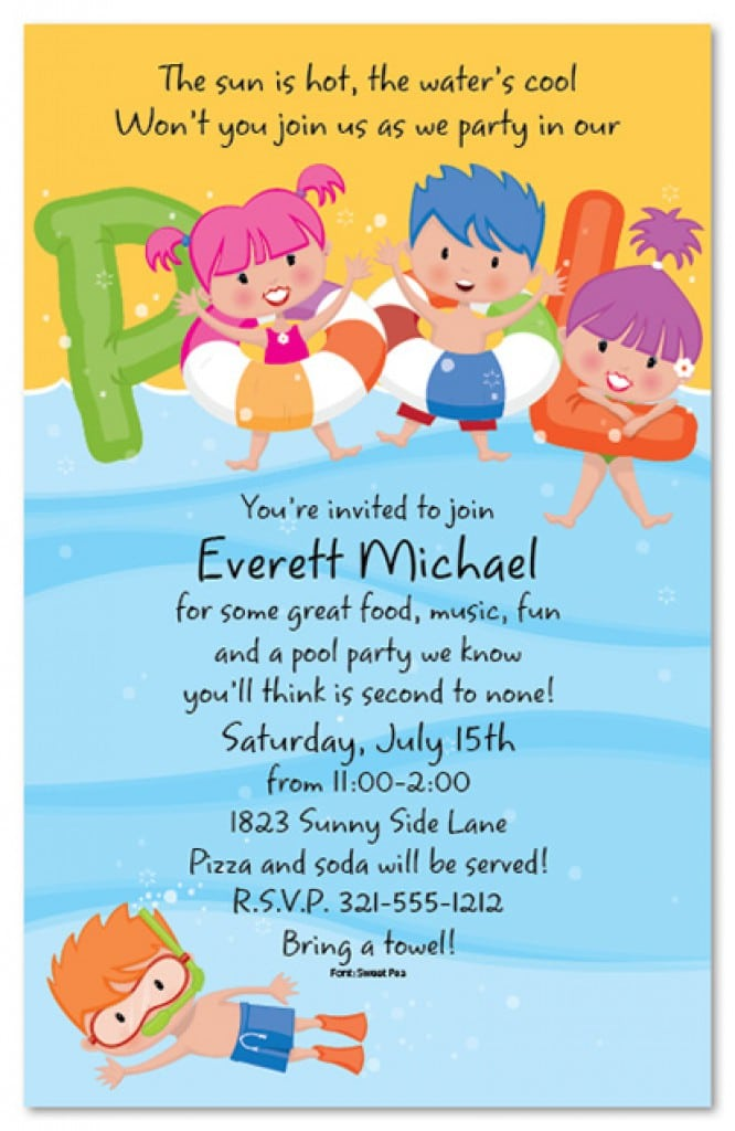 free pool party invitation template, Party invitations