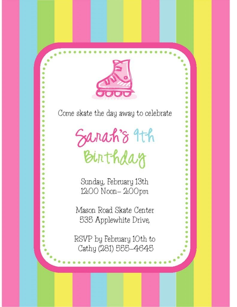 skating party invitation template