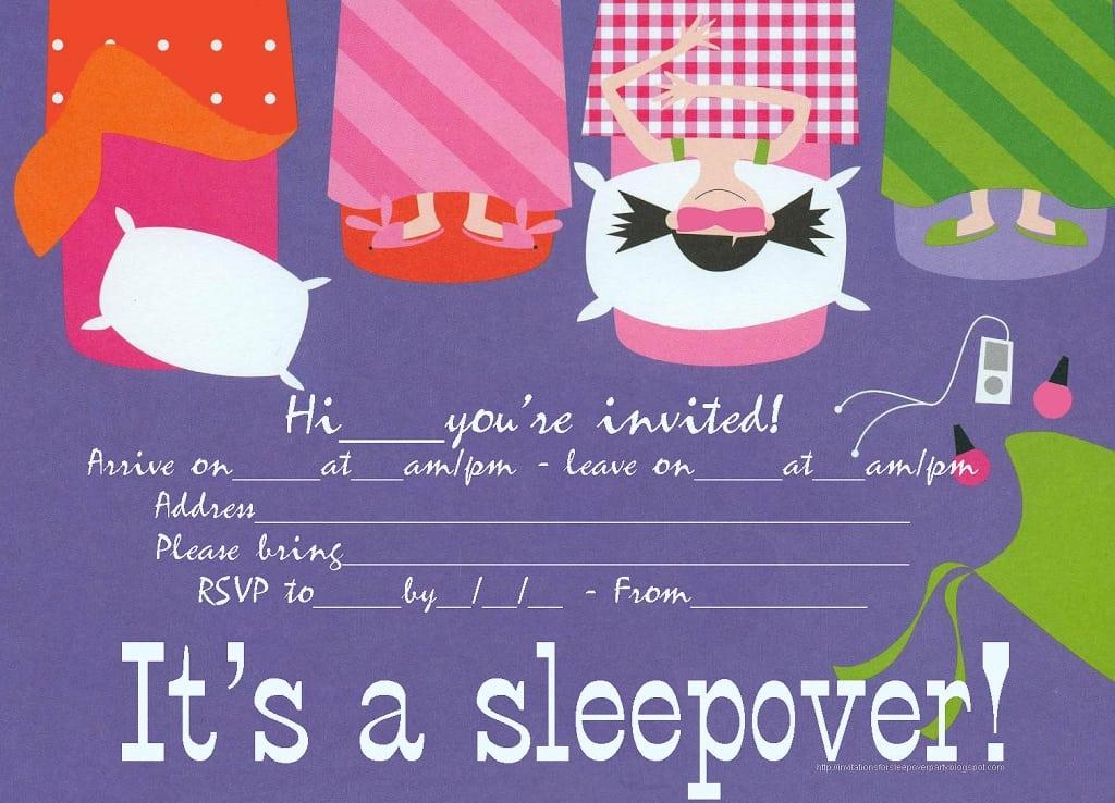 Free Slumber Party Invitations To Print