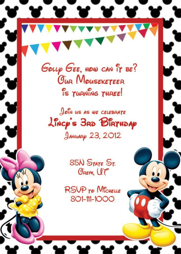 Mickey Mouse Printable Birthday Invitations wblqual