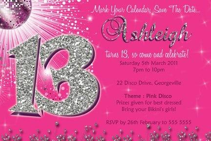 13th Birthday Invitations Templates Free