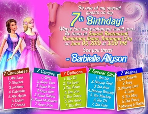 Sample invitation of 7th birthday images invitation sample and 7th birthday invitation wording sample invitation for seventh birthday best resumes curiculum stopboris images stopboris Image collections