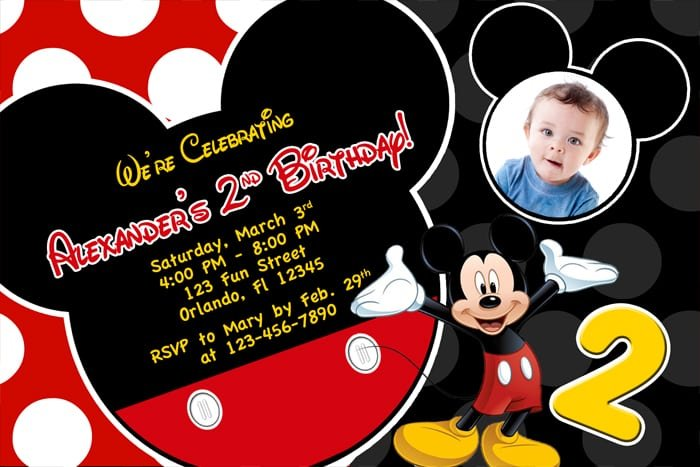 Free Printable Birthday Invitations Mickey Mouse