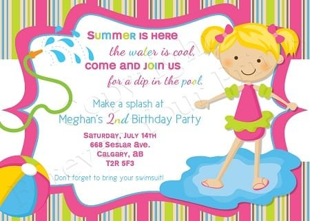 Invite To A Swimming Pool Party