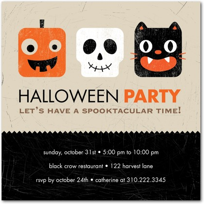 Square Heads Halloween Party Invitations - Invitation Crush