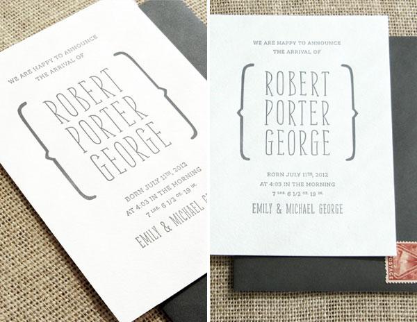 Porter\u0027s Typographic Baby Announcements - Invitation Crush