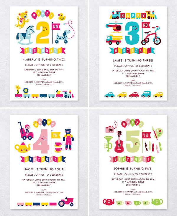 Kids\u0027 Party Invites by Esther Aarts for Hello! Lucky - Invitation Crush - kids birthday invites