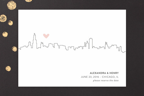 City Skyline Save the Date Cards by Erin Deegan