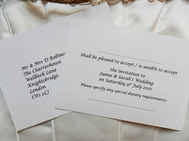 Wedding Invitations And Matching Rsvp Cards – Sample Rsvp Wedding Cards