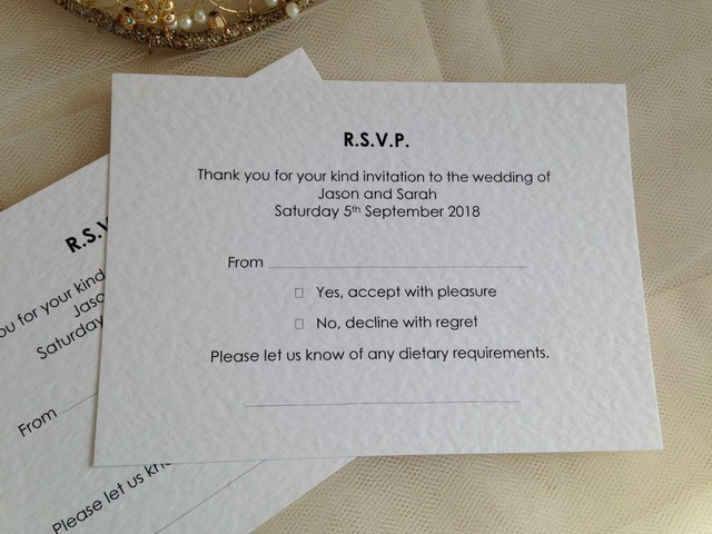 Menu RSVP cards with menu choice, Menu Reply Cards, Menu Reponse