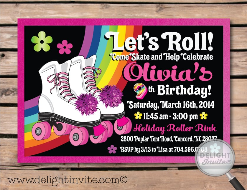 roller skating party invitations template