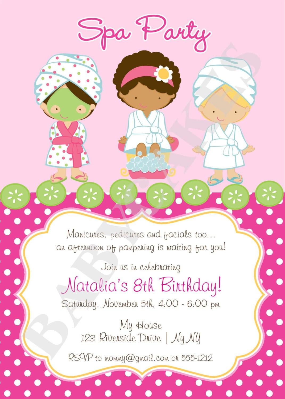 free spa party invitation template