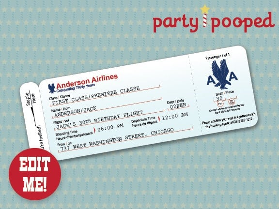 Airline Ticket Invitation Template Free  Free Printable Airline - airline ticket invitation
