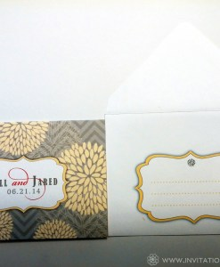 Grey And Yellow Wedding Suite | flower pattern, red accents