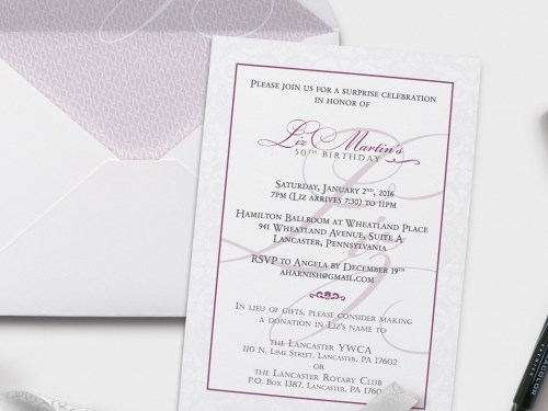 50th birthday invitation close up | purple gray script