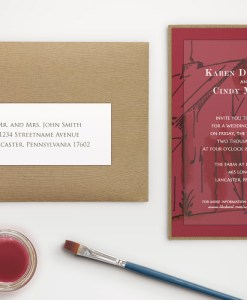 rustic watercolor barn wedding invitation farm country