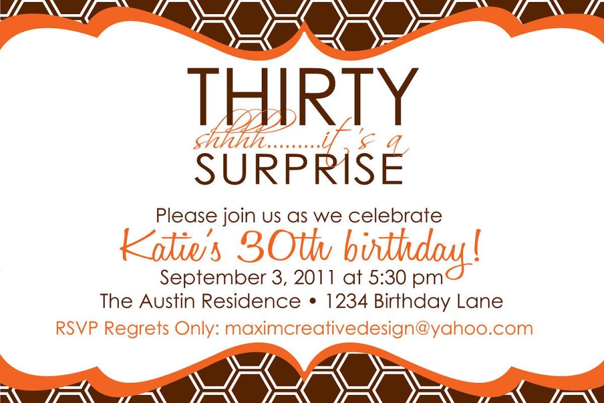 Printable Surprise 30th Birthday Invitations