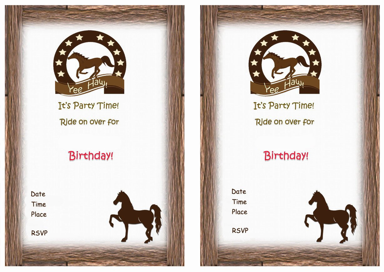 Horse Party Invitations Printable Free