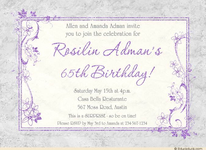 65 Birthday Invitation Wording