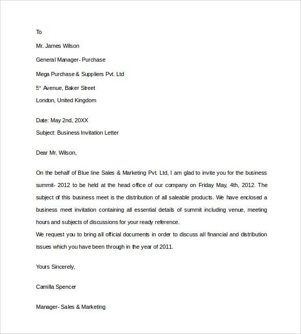 Invitation Letter Sample - birthday invitation letter sample