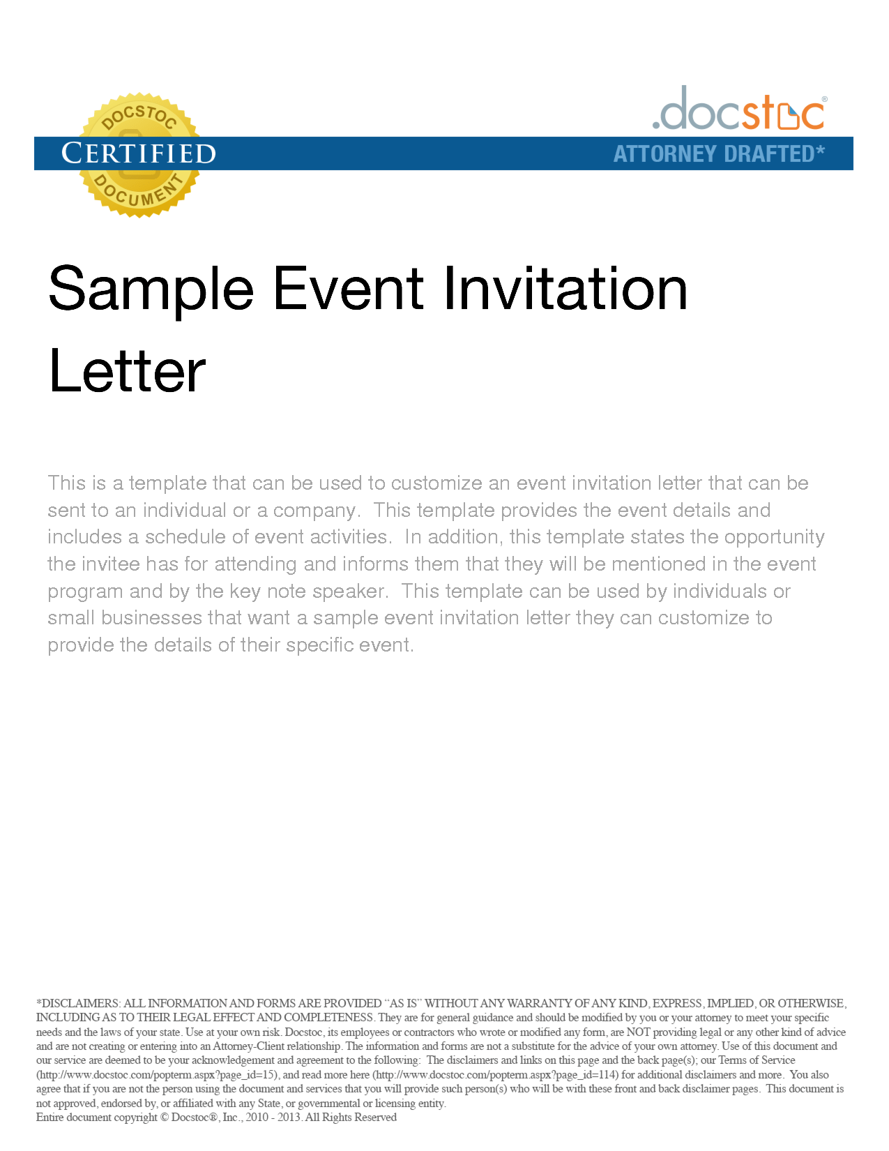 Sample Invitation Letter For Corporate Event – Formal Invitation Letter for Event