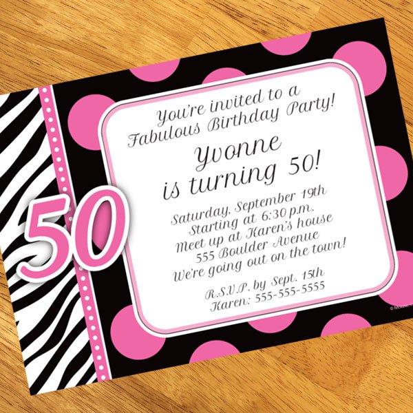 Fabulous 50th Birthday Invitation Wording - birthday invitation note