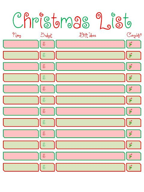 Wish List Printable Templates