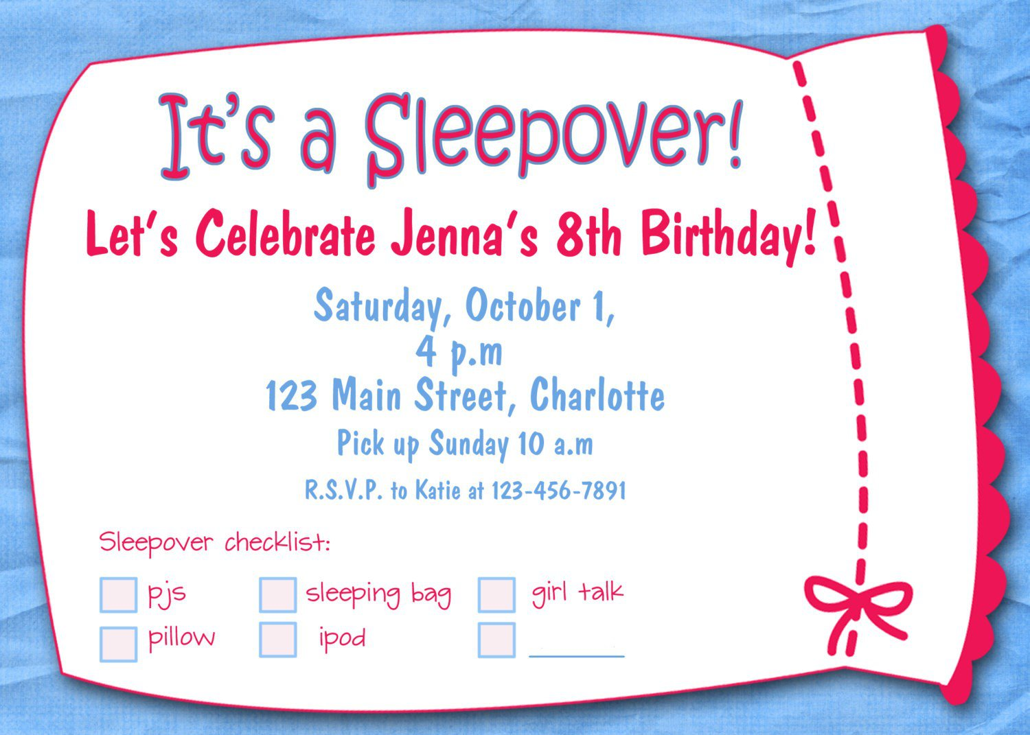 Amazing Girl Slumber Party Invitations Blank - Usefulresults