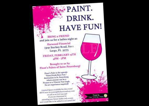 Paint And Wine Party Invitations