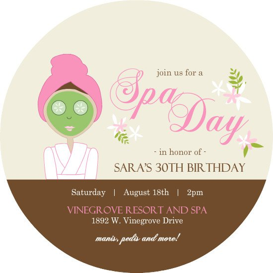 Spa Party Invitation Wording - spa invitation