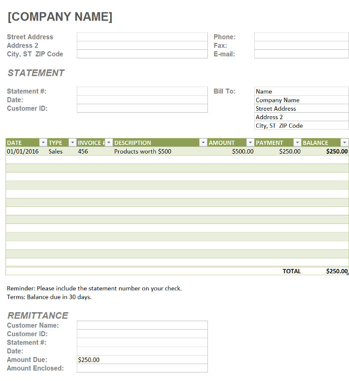 Free Billing Statement Templates InvoiceBerry