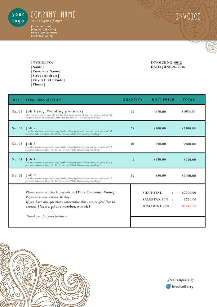 Free PDF Invoice Templates InvoiceBerry - Free Pdf Invoice