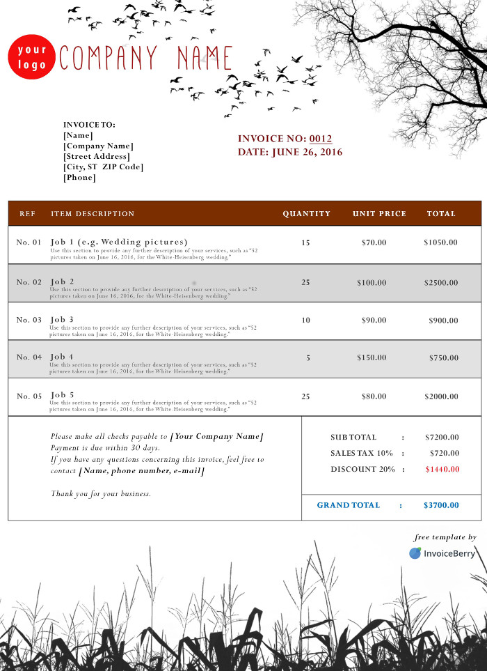 Free Photoshop Invoice Templates InvoiceBerry - invoice template for free