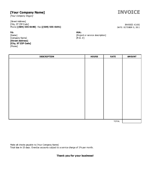Basic Invoice Template Free Open Office – Free Basic Invoice Template