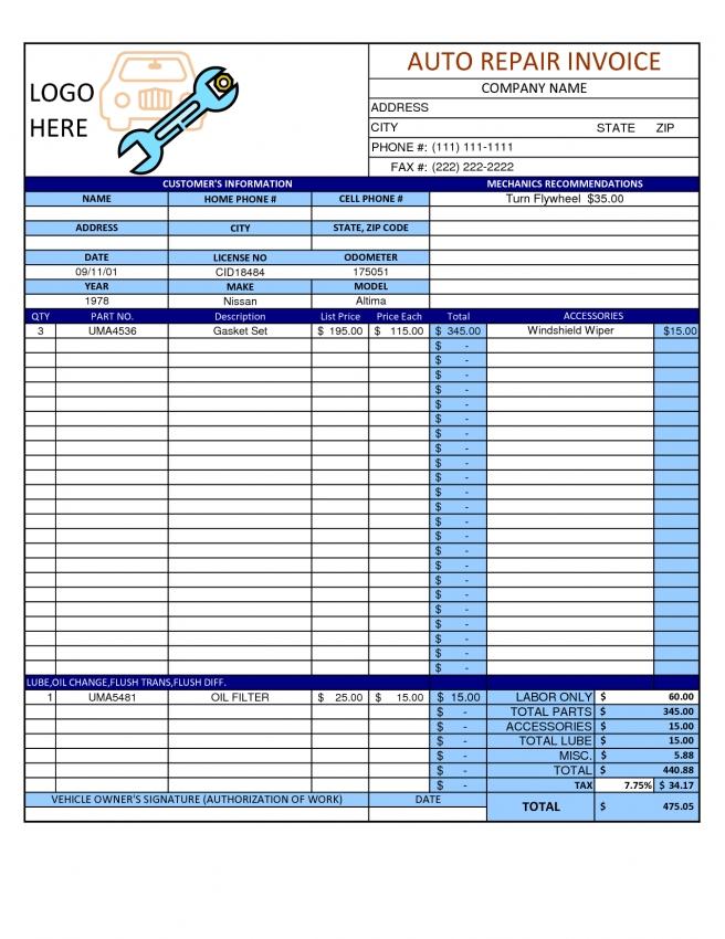 Auto Repair Invoice Template Word invoice example - auto repair invoice templates