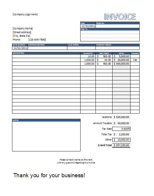 standard invoice format excel