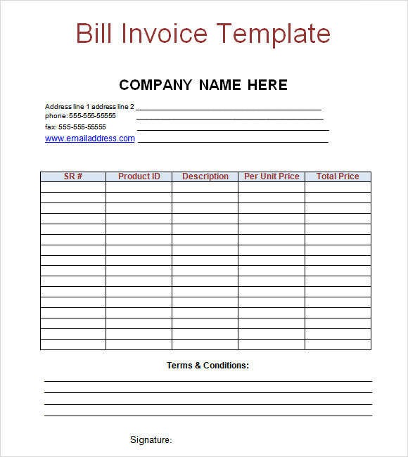 Billing Invoice Template Free invoice example - pay invoice template