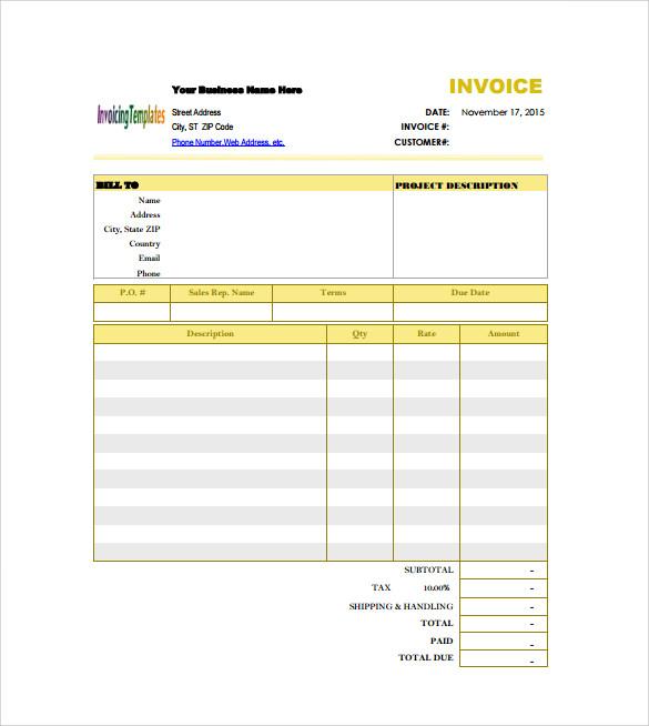 Billing Invoice Template Free Download invoice example