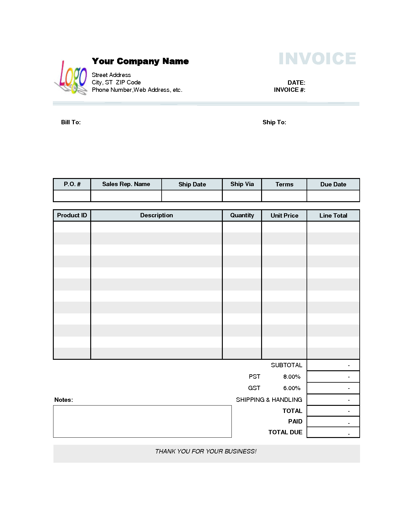 Download Blank Invoice Template For Free Formxls Business Invoice Template Invoice Example