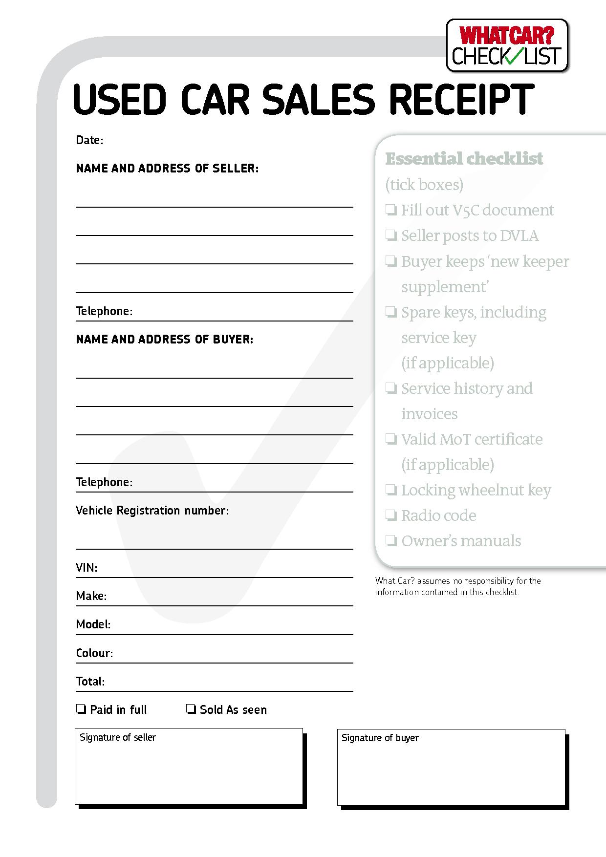 used car receipt template